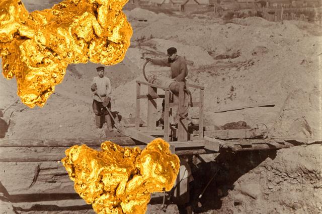 Добыча золотоносного песка на реке Берёзовке